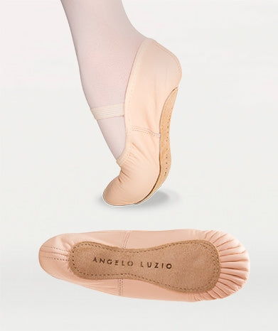 Body Wrappers Child Full Sole Leather Pleated Ballet Slipper