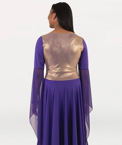 Body Wrappers Adult Solid Dress w- Gold Bodice Overlay