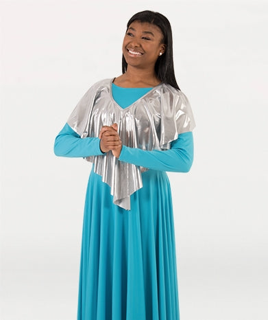 Body Wrappers Plus Size Drapey Shiny Metallic V-Shawl Pullover