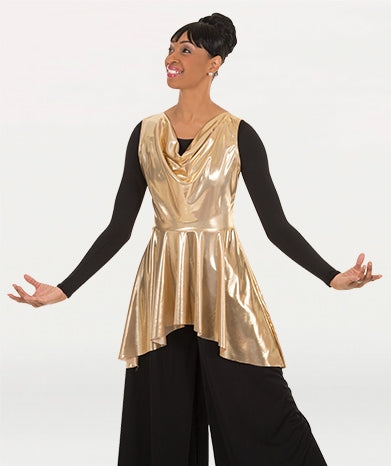 Body Wrappers Womens Metallic Sleeveless Pullover