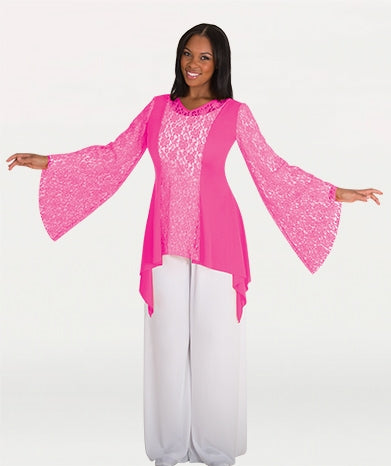 Body Wrappers Women's Lace Panel Tunic Components