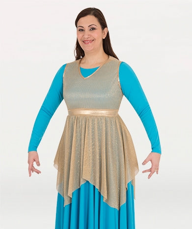 Body Wrappers Womens Metallic Tunic Pullover