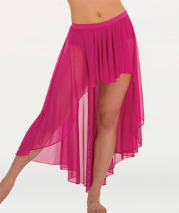Body Wrappers Tweens Convertible Long Side-To-Front Chiffon Skirt
