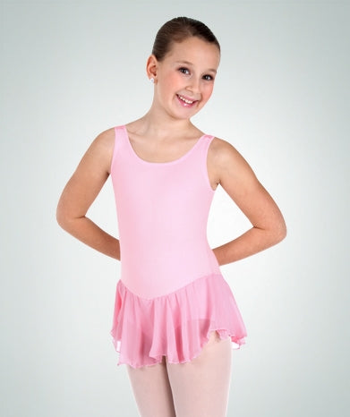 Body Wrappers Girls Cotton Tank Leotard with Attached Skirt