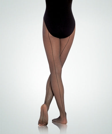 Body Wrappers Girls' Seamed Fishnet Dance Tights