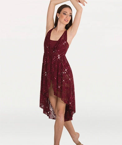 Body Wrappers Sequin Lace Hi-Lo Dance Dress