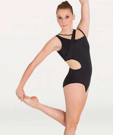 Body Wrappers Mesh Trimmed Tank Leotard