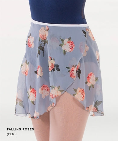 Body Wrappers Adult Chiffon Skirt - Falling Roses