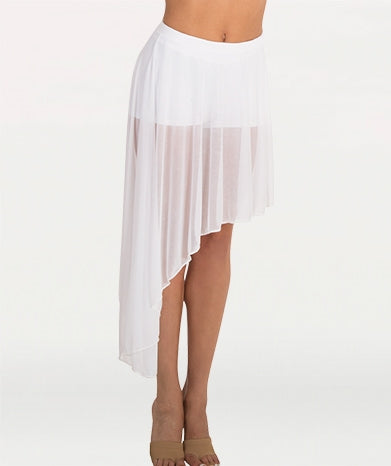 Body Wrappers Tween Side-Dip Asymmetrical Chiffon Skirt