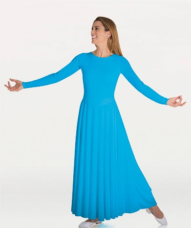 Body Wrappers Plus Size Praise Dance Loose Fit Long Sleeve Dance Dress, 2X, 3X, 4X, 5X, 6X