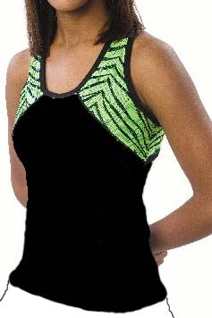 Pizzazz Child Tri-Color Zebra Glitter Top with X-back