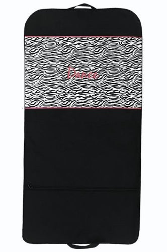 Sassi Designs ZBR-04 GARMENT BAG- BLACK with Zebra & Hot Pink