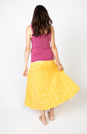 Boho Maternity Skirt Yellow Floral
