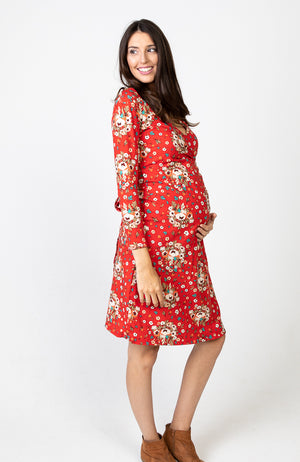 Boho Maternity Dress Red Floral