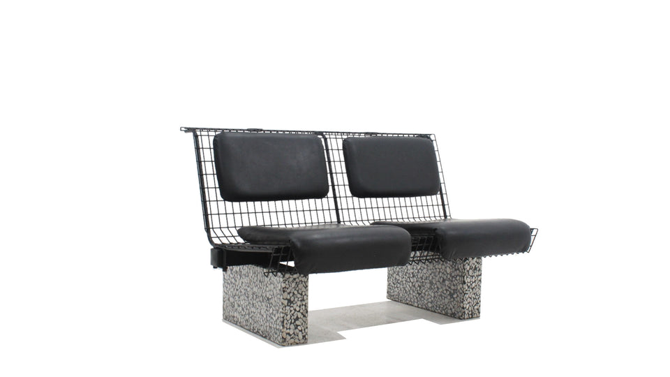 Bench in metal and granite Osvaldo BORSANI, TECNO 1980s