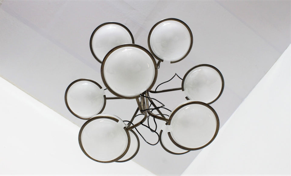 Italian vintage hanging chandelier 1960s, Sarfatti Gino, Candle
