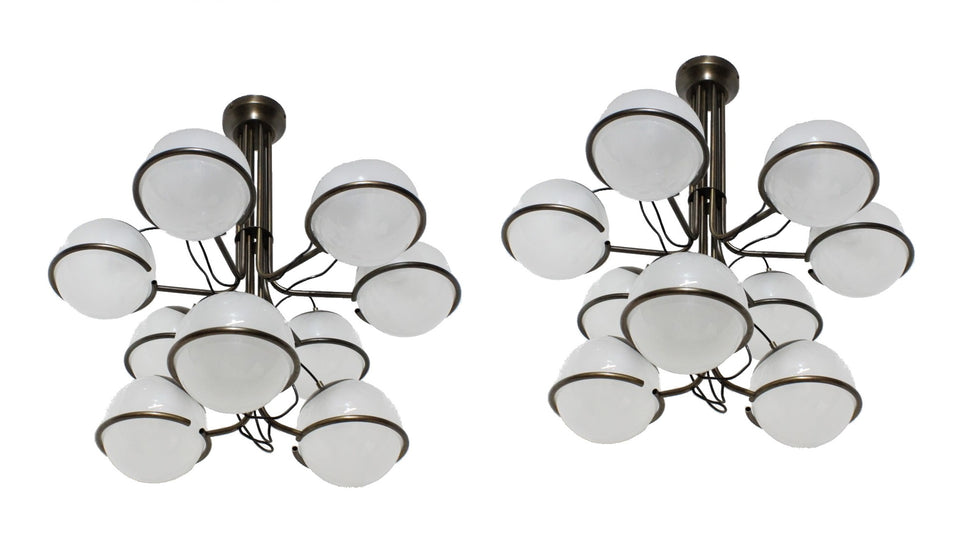 Italian design hanging chandelier 1960s, set of 2