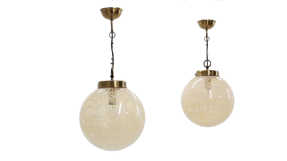 Set of 2 globe hanging lamp La Murrina 1970s