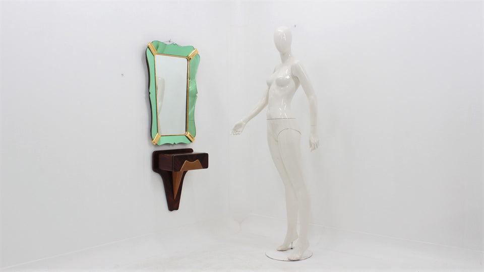 Mid century italian mirror with console by DASSI 1950s