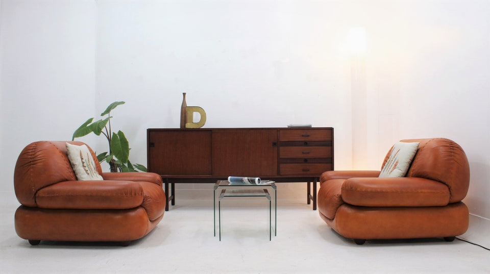 Sapporo cognac leather armchairs by GIRGI 1970s