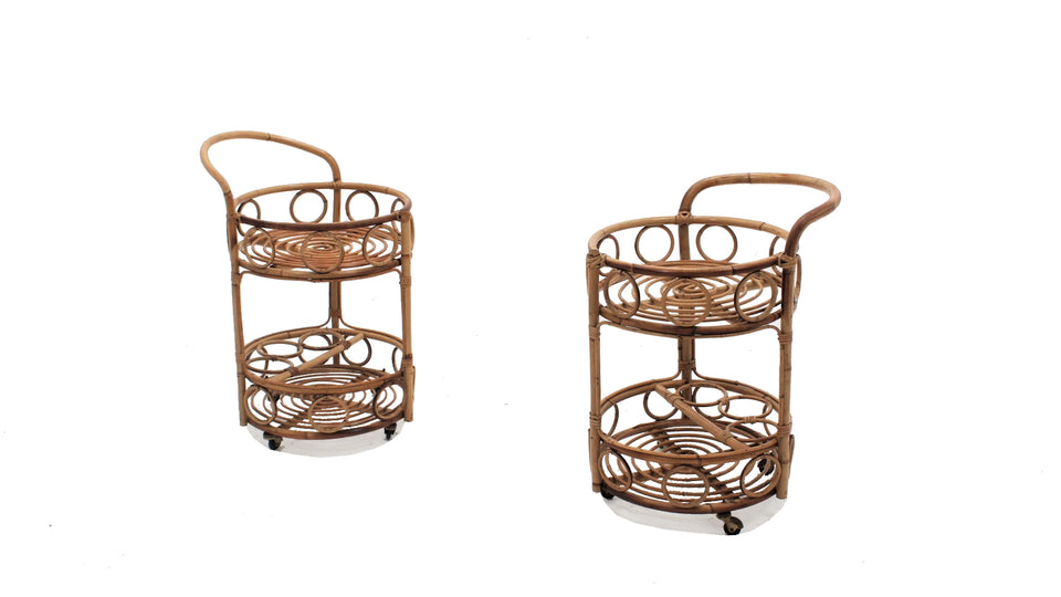 Vintage bamboo rattan serving trolley, set of 2