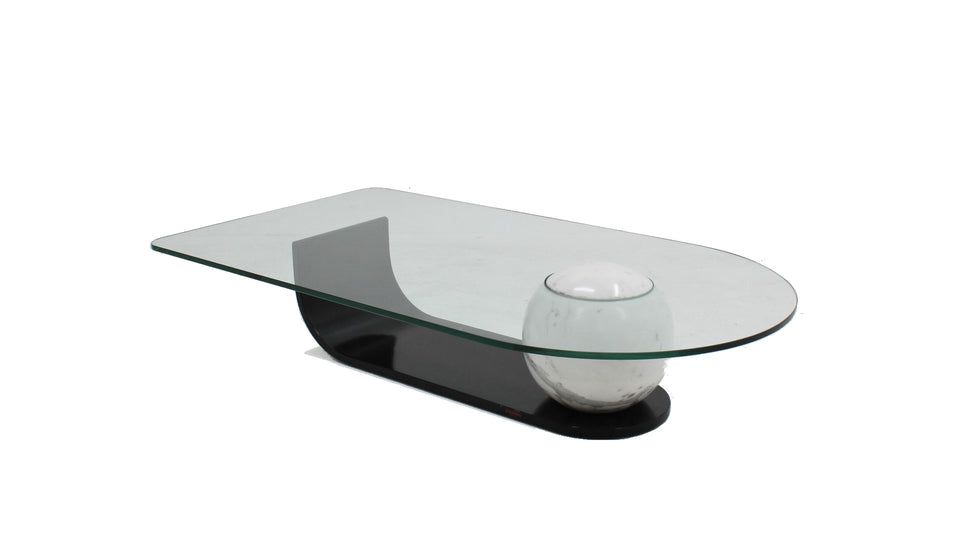 Italian marble and glass coffee table 1980s