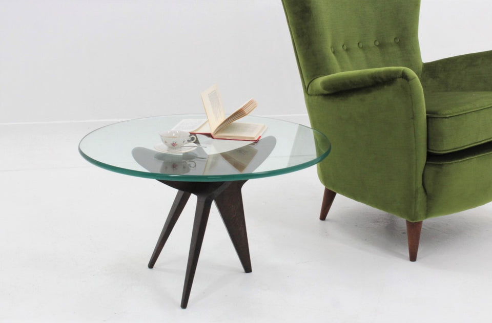 Vintage french design round coffee table 1950s
