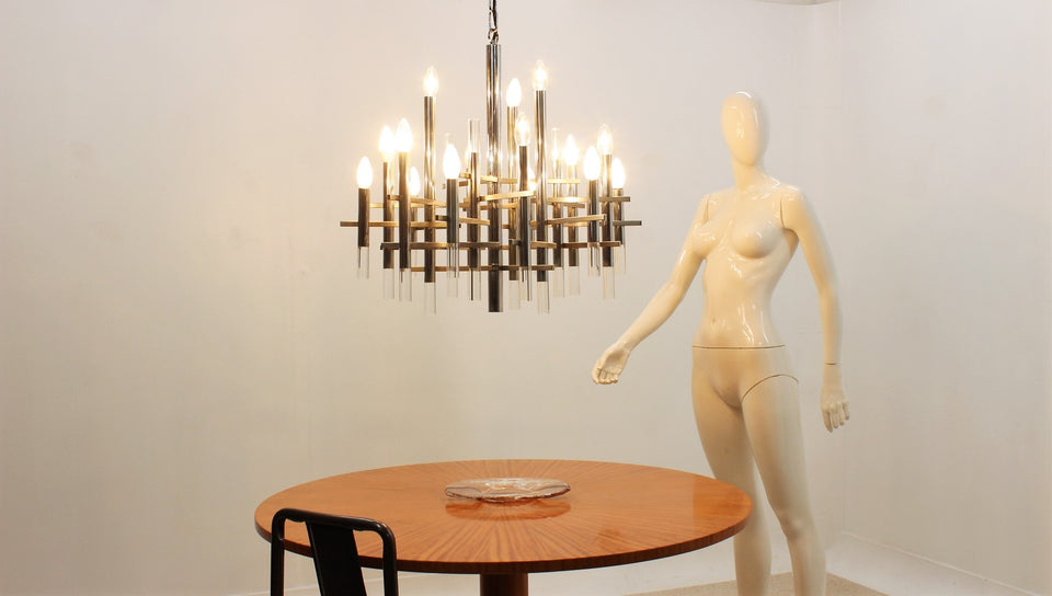 Gaetano Sciolari design chandelier 1970s, 15 lights