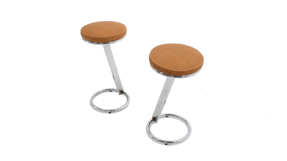 Chrome counter bar stools 1970s