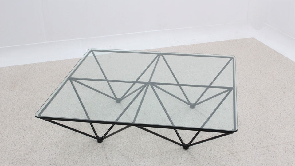 Italian design geometric large coffee table 1980s