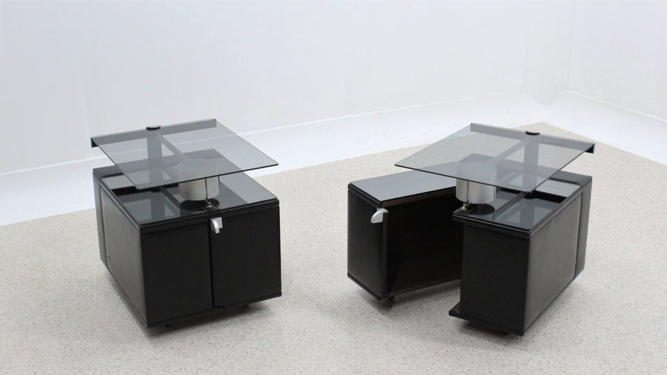 Italian design vintage nightstands with light 1970s