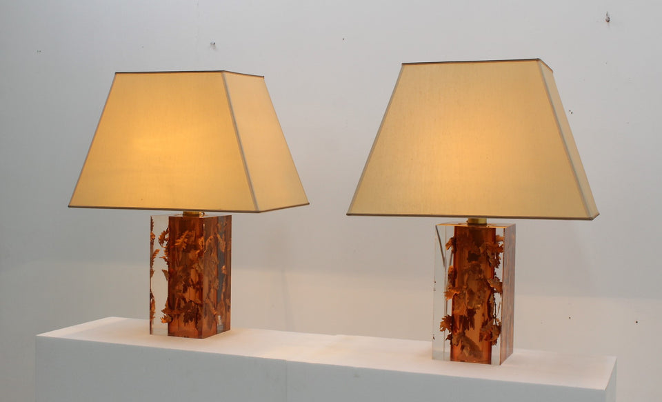 Italian lucite and copper table lamp 1970s, set of 2