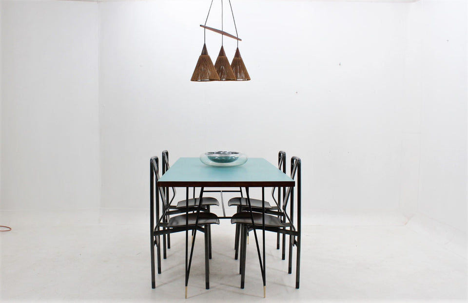 Danish modern rope and teak chandelier 1950s
