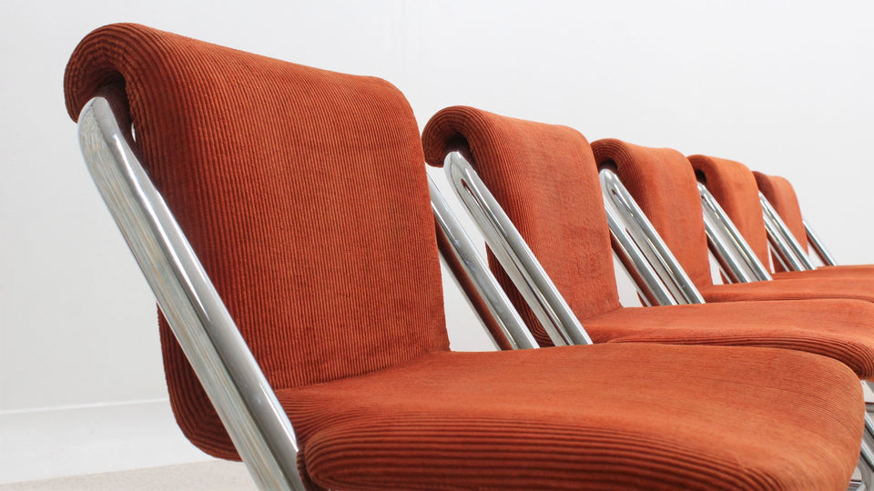 Vintage cantilever chrome dining chairs 1970s