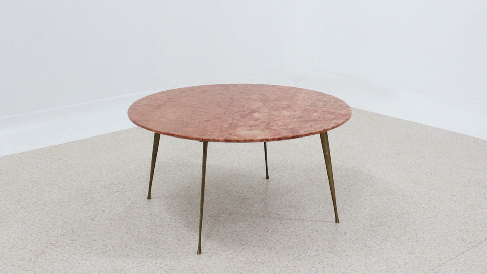 Vintage pink marble round coffee table 1950s