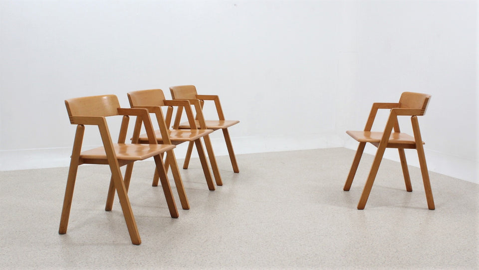Vintage beech wood chairs Roberto Pamio for STILWOOD 1980s