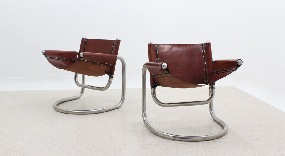 Italian design cow leather cantilever lounge chairs 1970s