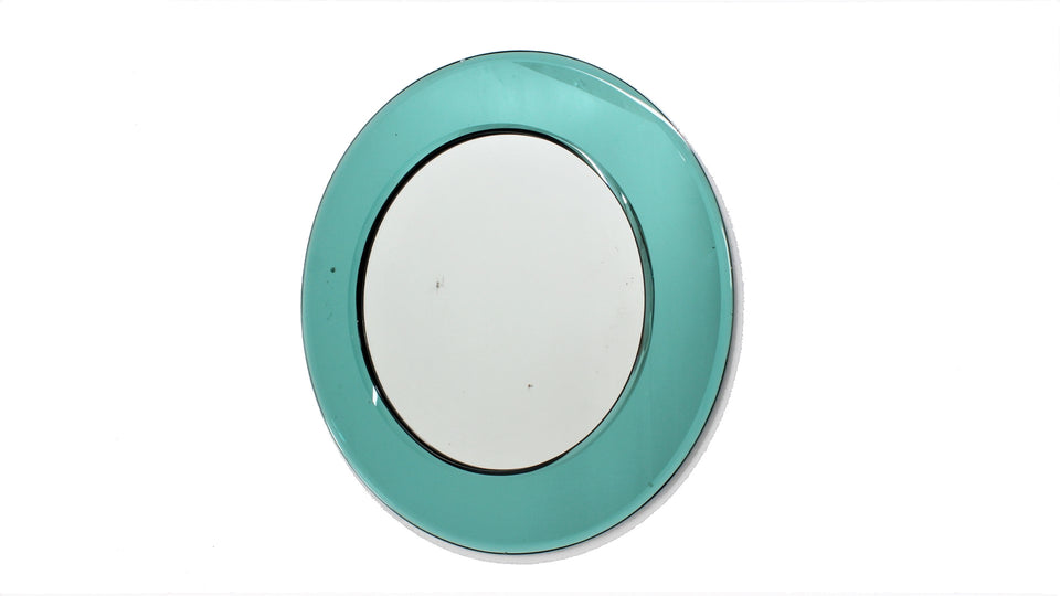 Italian cut glass round mirror ANTONIO LUPI 1950s