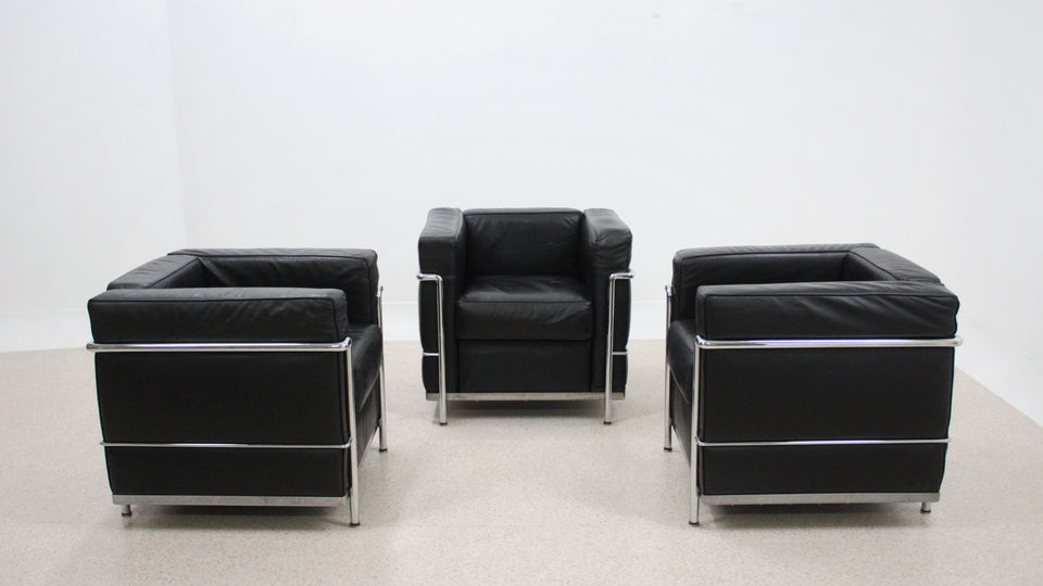 Vintage LC2 style leather armchairs by ICF 1990s