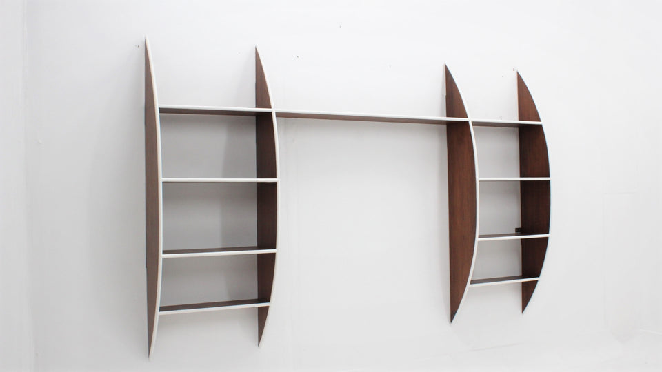 Mid century italian design hanging wood shelves