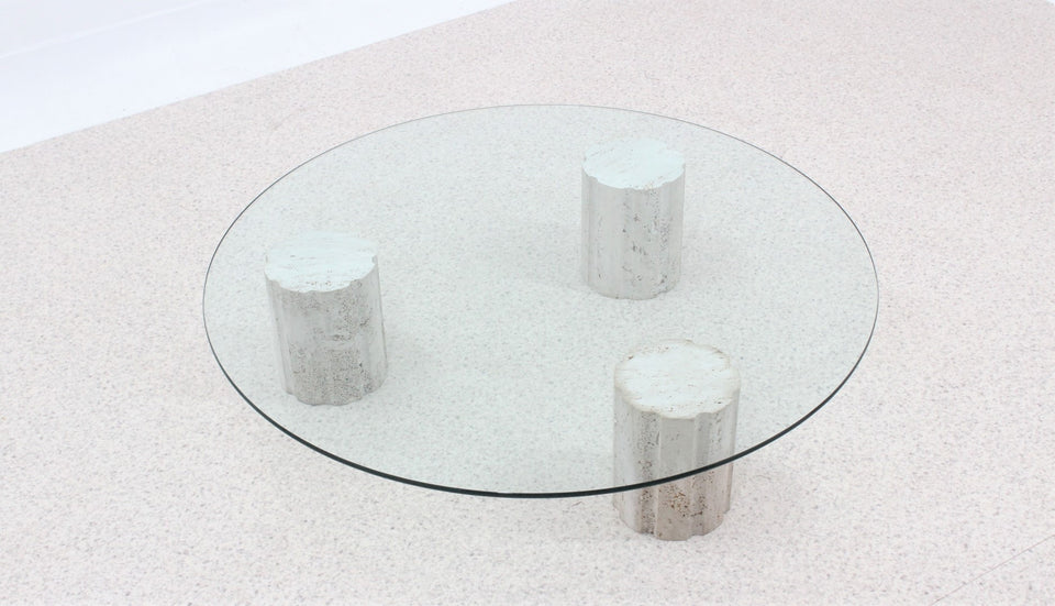 Italian marble round coffee table 1970s