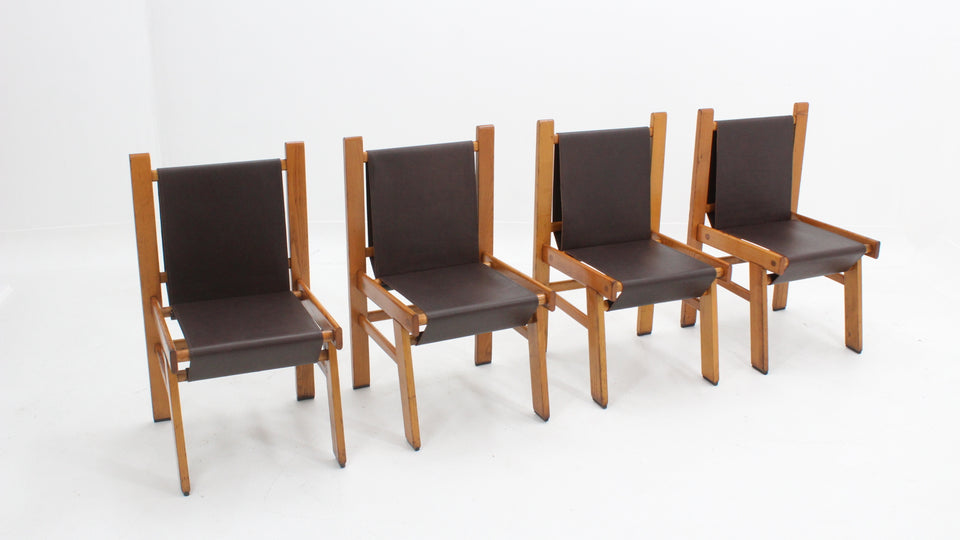 Vintage leather dining chairs 1970s, set of 4