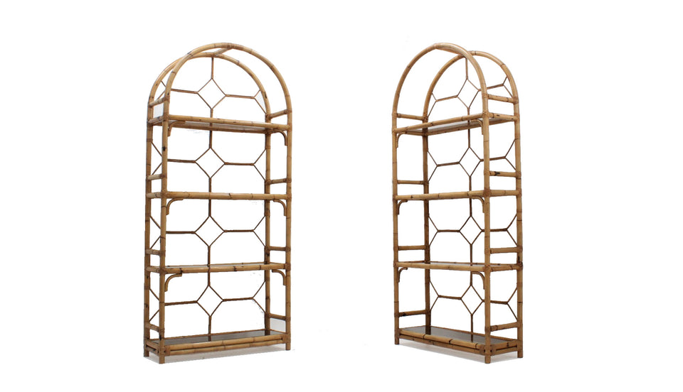 Vintage rattan bookcase 1970s, set of 2
