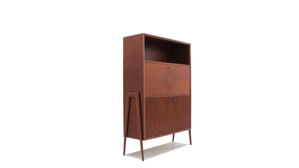 Italian design fold out desk cabinet 1950s