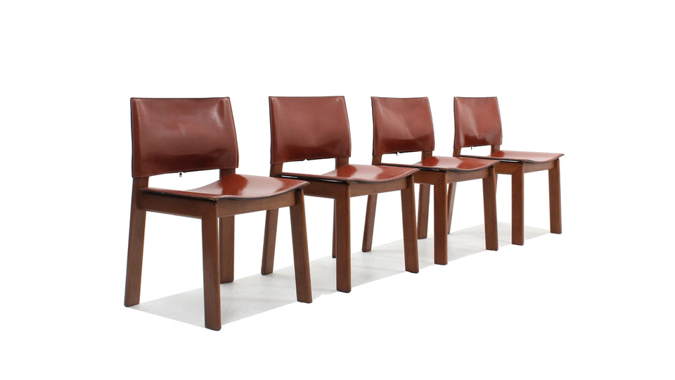Gavina cognac leather dining chairs 1970s, set of 4