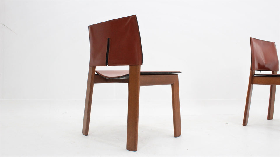 Zanotta cognac leather dining chairs 1970s, set of 4