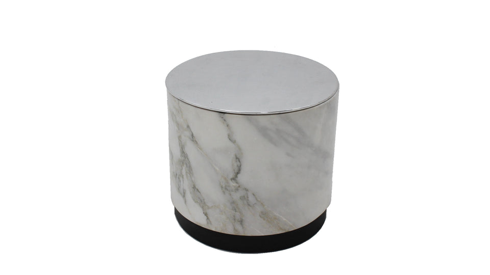 Italian design container vintage marble pouf, 1970s