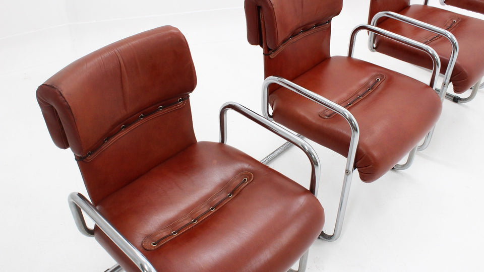 Leather dining chairs Guido Faleschini design 1970s