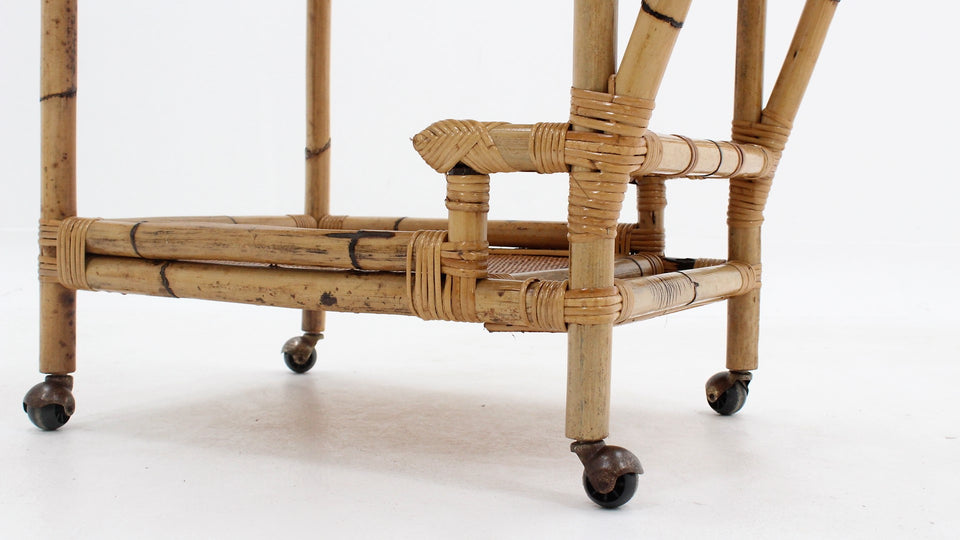 Italian design rattan / bamboo serving trolley, 1960s