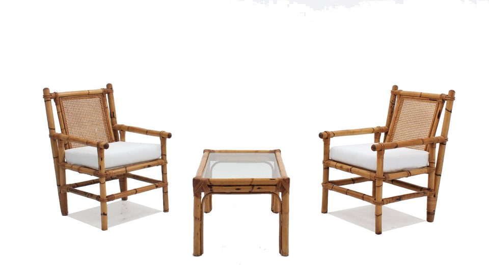 vintage bamboo living room set